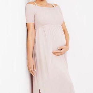 Off the shoulder smocked maternity maxi dress